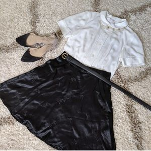 Black Embroidered Skater Skirt